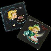 SALE Pair Matching Hallmark Birthday Cards - 1940's