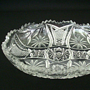 Modern Cut Glass Bowl With Floral And Cross Hatch Pattern