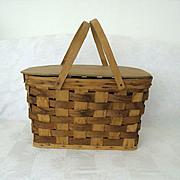 Woven Bent Wood Handled Picnic Basket