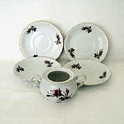 SALE Moss Rose Saucers and Sugar Bowl