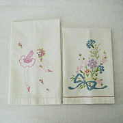 Set of Two Vintage Embroidered Guest Towels