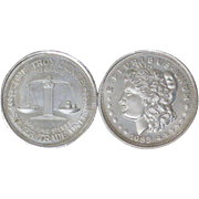 Pair Silver Liberty Trade Coins Uncirculated 1985