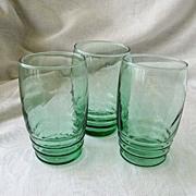 SALE Libbey Logo On Three Green Juice Glasses 1950s