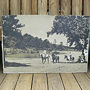 SALE Nostalgic Scene on Huge Tin Photograph 1940's