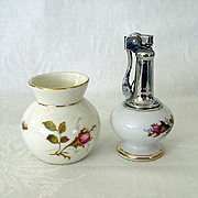 SALE Moss Rose Table Lighter and Bavarian Small Vase