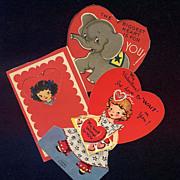 Valentine Card Trio Cut-Outs - 1947