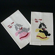 SALE Embroidered Puppies Hold French-Knot Towels For Guests