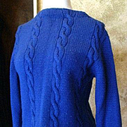 Hand-Made Royal Blue Cable Stitch Sweater 1950s