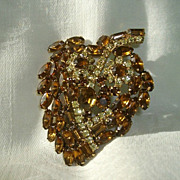 SALE Spectacular Topaz Leaf-Shaped Tiered Coat Pin