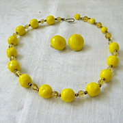 SALE Bright Lemon Yellow Beads Spaced With Amber Crystals