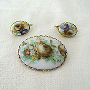 SALE Floral Brooch Pin With Matching Earrings
