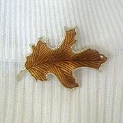 SALE Enameled Autumn Leaf Pin