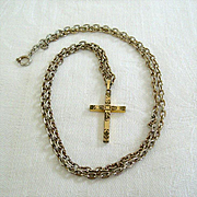 Gold-Tone Etched Cross Pendant