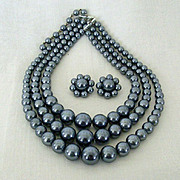 SALE Faux Gray Pearl Necklace and Earrings Set