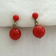 SALE Bright Red Dangle Earrings - 1950's