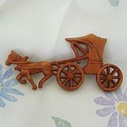 SALE Uncas 1942 Plastic Horse & Buggy Pin - Barbieri Designer