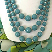 SALE Classic 3-Strand Aqua Beads With Silver Spacers