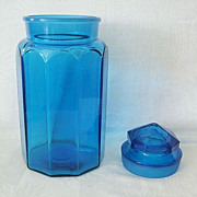 Large Turquoise Blue Canister Or Biscuit Jar