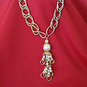 SALE Double Link Heavy Chain With Faux Pearl Tassel