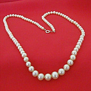SALE Classic Necklace of Old 1950's Imitation Pearls