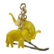 SALE Pair Molded Celluloid Elephants Charm With Brass Chain