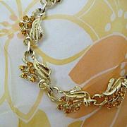 SALE Amber Rhinestone Blossoms Adorn Vintage Necklace
