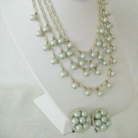 Ice Blue Beads On White Metal Chain