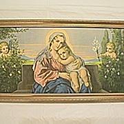 Virgin Mary and  Baby Jesus  with  Angels in Garden Print Engel-Madonna II  Artist  Mileto