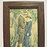 Sweethearts  Romantic  Print of Man and Woman with Horse Take Shelter from Rainstorm