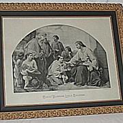 Christ Blessing Little Children  X-Lg Antique Victorian Inspirational Religious Jesus Print  L