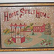Antique Victorian Punch Paper Motto Sampler  Home Sweet Home   House  Landscape  Gazebo
