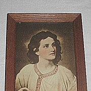 Portrait of Jesus Christ at 12 Years Old  Sepia Religious Print in Oak Frame