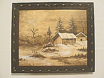 Antique Victorian  Captivating Winter Scene Watercolor Painting