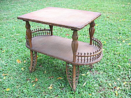 Antique Fancy Victorian Natural Wicker Table