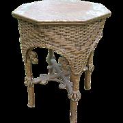 Fancy Antique Victorian Wicker Tabouret Table