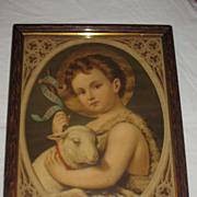 SALE Saint John the Baptist Antique Victorian Lithograph  by Leiber