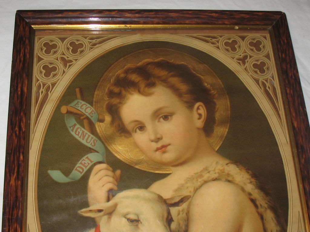 Saint John The Baptist Antique Victorian Lithograph By
