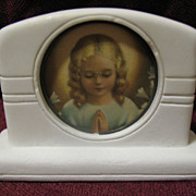 SALE Religious Marble Paperweight Jesus and Mary Prints Circa 1920's
