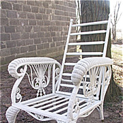Rare Antique Wicker Morris Chair Circa 1890's