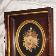 Antique Decorative Deep Walnut Victorian Picture Frame With Beautiful Flower Arrangement Circa