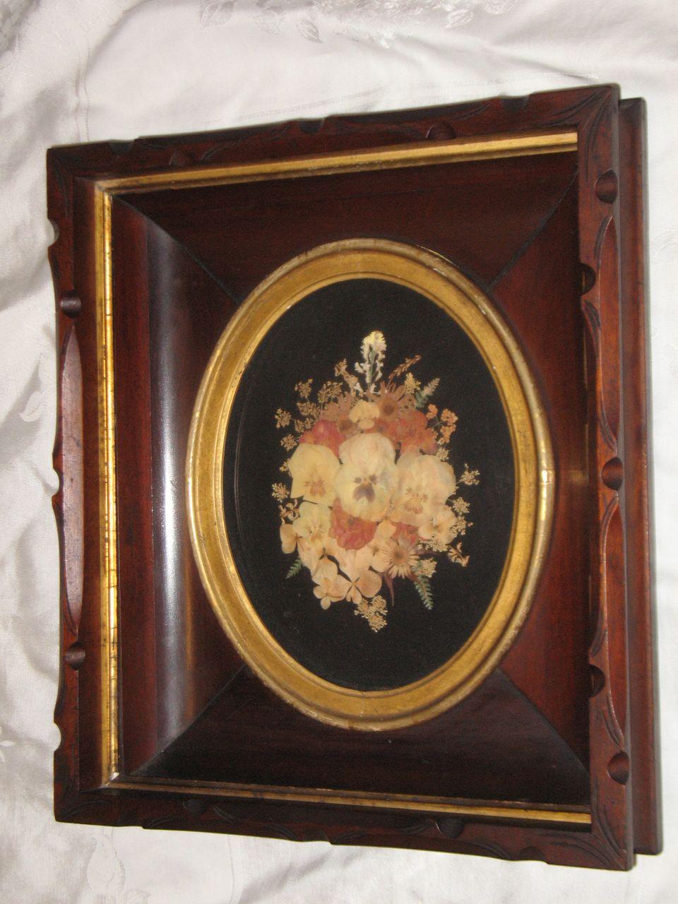 Antique Decorative Deep Walnut Victorian Picture Frame With Beautiful Flower Arrangement Circa 1880's