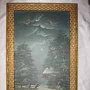 Antique Winter Scene Moonlit Night Oil Painting on Canvas Circa 1890's
