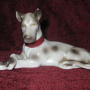 Porcelain Harlequin Great Dane Dog Figurine