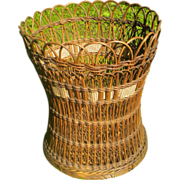 SALE Shapely Natural Antique Wicker Basket Circa 1900
