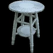 Small Round Bar Harbor Wicker Table Circa 1920's
