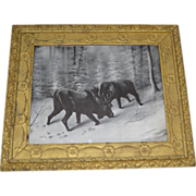 SALE Rare Antique Winter Scene Moose Print Circa 1902