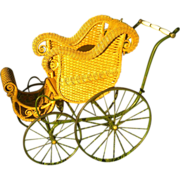 Natural Antique Wicker Baby Stroller Carriage Circa 1890's