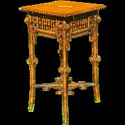 Ornate Antique Victorian Wicker Table Circa 1890's