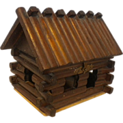 1950's  Wood Log Cabin Trinket Box