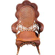 Rare Ornate Shapely Natural Victorian Wicker Rocker with Hand Caned Back Circa 1890's